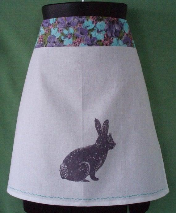 block print bunny apron