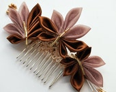 Metalic Fall Leaf Comb. Tsumami Kanzashi. Autumn Whisper.