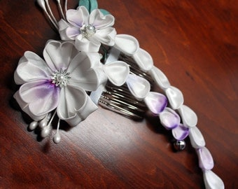 Lilac Cherry Blossoms kanzashi on Comb. My Romance. Made to Order