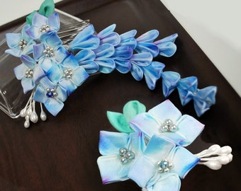 Hydrangea Tsumami Kanzashi.  Ajisai Silk Flowers. Custom bridal veil. Dreaming of Blue Skies.
