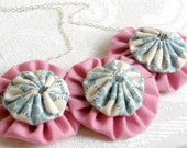 Like a Fluffy Pink Dream Cloud - fabric sculpture necklace, layered style