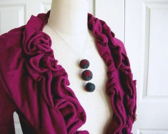 Dark Dangle Balls - felted necklace
