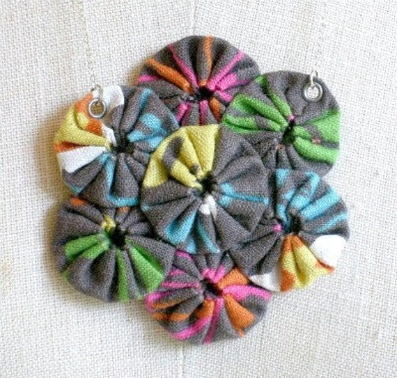 A Garden in the Rain - fabric sculpture necklace