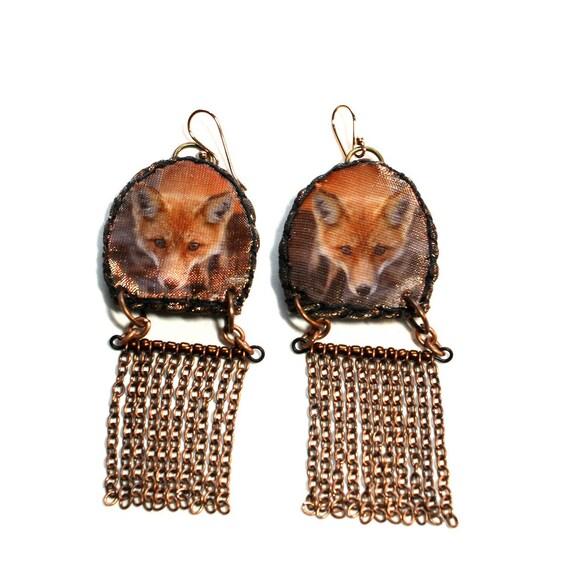Red Fox Fringe Earrings