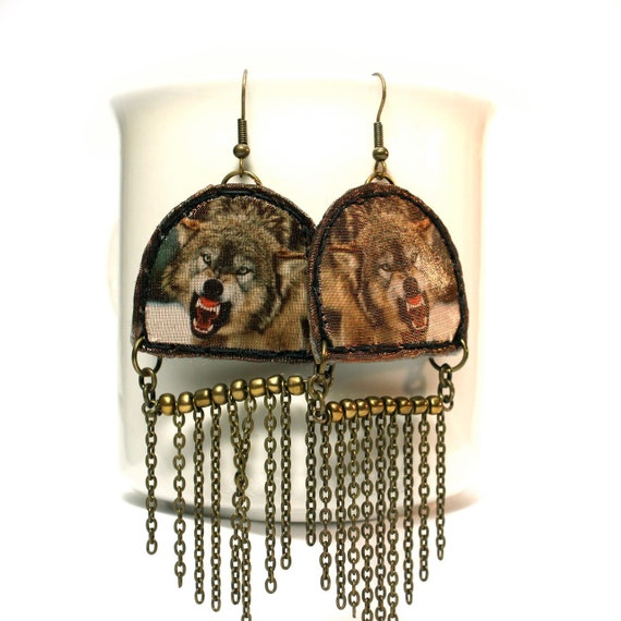 Angry Wolf Fringe Earrings