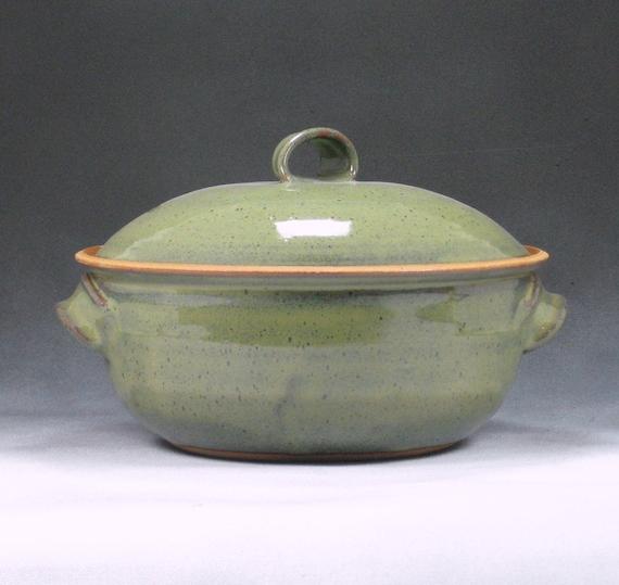 Medium Casserole Dish With Lid Handthrown Stoneware Pottery 1