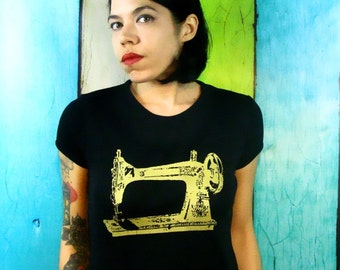 Sewing Machine Shirt screenprint Womens T-Shirt- Sew a Go-Go - Vintage Sewing Machine - Black and Gold - Vintage Inspired Graphic