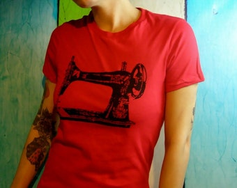 Sewing machine shirt womens red shirts screenprint ladies fashion - sew a go-go -red and black vintage sewing machine