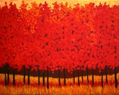 Really Red Trees- Abstract, Huge Contemporary Acrylic on a Extra Large Canvas Commissioned Painting by Patty Baker