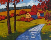 Fall on Young America Road- Abstract, Huge Contemporary Acrylic on a Extra Large Canvas Commissioned Painting by Patty Baker