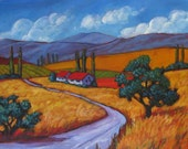 Country Road and Fields- Abstract, Huge Contemporary Acrylic on a Extra Large Canvas Commissioned Painting by Patty Baker