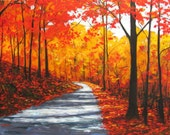Autumn Country Road- Abstract, Huge Contemporary Acrylic on a Extra Large Canvas Commissioned Painting by Patty Baker