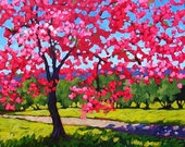 Spring Cherry Blossoms- Abstract, Huge Contemporary Acrylic on a Extra Large Canvas Commissioned Painting by Patty Baker