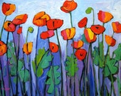 Abstract Poppies on Blue- Abstract, Huge Contemporary Acrylic on a Extra Large Genie Collapsible Canvas Commissioned Painting by Patty Baker
