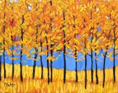 Yellow Trees and Blue Sky- Abstract, Huge Contemporary Acrylic on a Extra Large Canvas Commissioned Painting by Patty Baker
