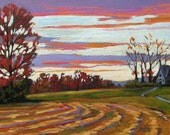 Farmhouse at Sunset- Abstract, Huge Contemporary Acrylic on a Extra Large Canvas Commissioned Painting by Patty Baker