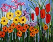 Springtime Garden II- Huge Contemporary Acrylic on an Extra Large Genie Canvas, Commissioned Painting by Patty Baker