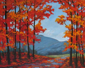 Autumn Path and Mountains- Abstract, Huge Contemporary Acrylic on a Extra Large Canvas Commissioned Painting by Patty Baker