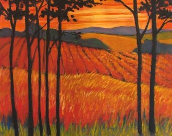 Sunset Pastures- Abstract, Huge Contemporary Acrylic on an Extra Large Genie Collapsible Canvas, Commissioned Painting by Patty Baker