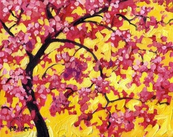 Pink Blossoms on Yellow- Abstract, Huge Contemporary Acrylic on a Extra Large Canvas Commissioned Painting by Patty Baker