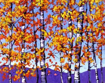Mountain Aspens in Autumn 3x5 FEET- Abstract, Huge Contemporary Acrylic on a Extra Large Canvas Commissioned Painting by Patty Baker