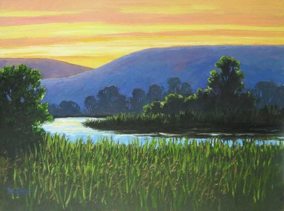 New Large Abstract Landscape Painting -  Riverbend at Sunset -  Contemporary Original Acrylic on Canvas by Patty Baker
