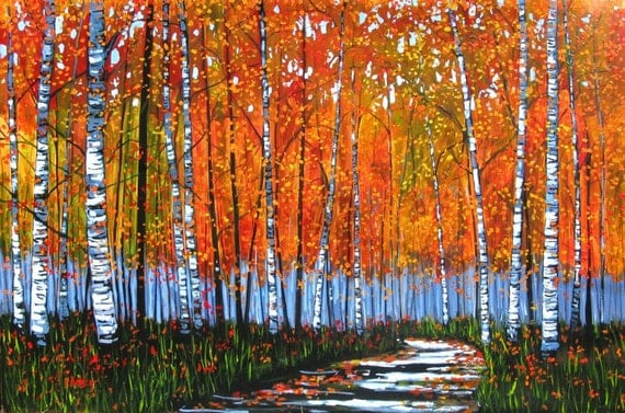 Autumn Path with Birches - 4x6', and Fauve Landscape - 3x5' - Just for Lois.