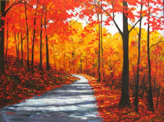 Items similar to autumn country road abstract huge for Fall paintings easy