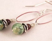 Jasper, Tourmaline and Sterling Silver Earwires - WHERE THE GREEN GRASS GROWS