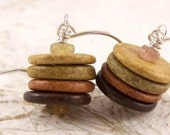 Tourmaline, Greek Ceramic Natural Disks and Sterling Silver Earrings - ORGANIC STACKS