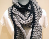 Black and Grey Twisted Scarf