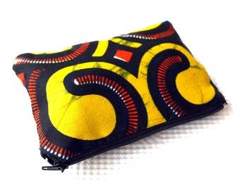 Zipper pouch, Stocking filler, coin purse, Sunshine Print zipper purse, African print, Ankara fabric, gift for her, colourful storage pouch