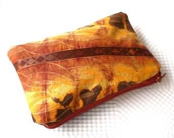 Coin pouch, money pouch, secret santa, stocking filler, batik purse, african fabric pouch, orange pouch, Flame Batik Zipper Pouch