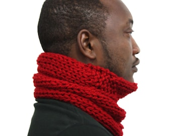 Red scarf, Knitted Cowl, Cowl Scarf, Tube scarf, Cardinal Red Neckwarmer, Bright red snood, Hand knitted scarf, Mens scarf, Husband gift