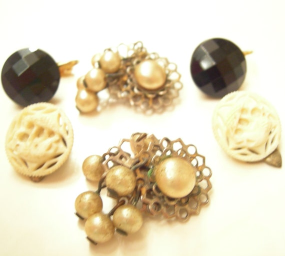 Vintage Shabby Eclectic Clip Earring Lot