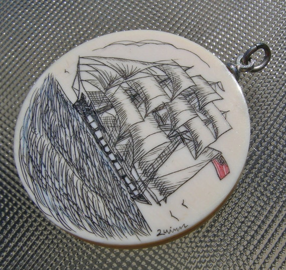 Vintage Galleon Scrimshaw Pendant