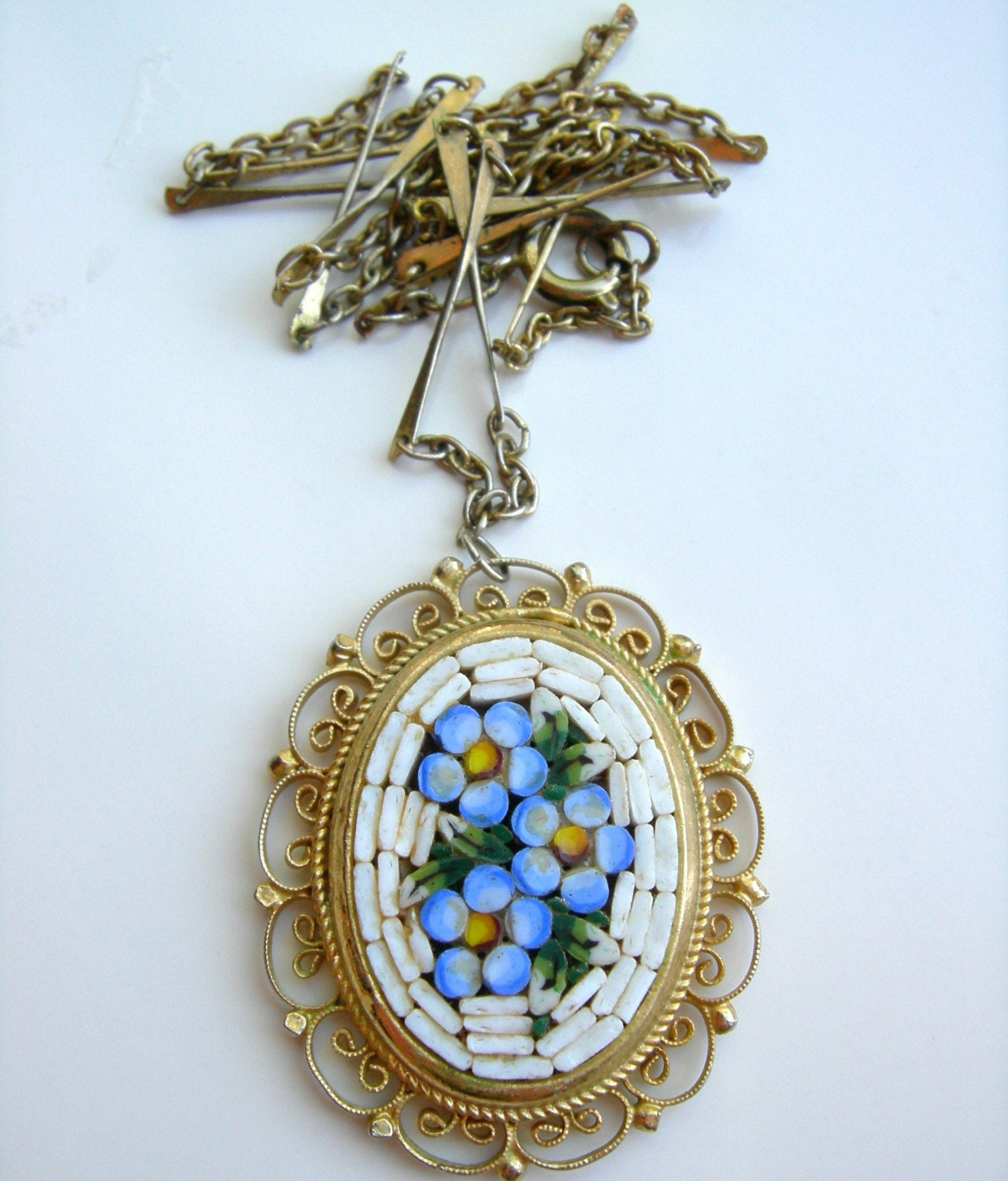 vintage italian mosaic pendant necklace by handmadeluck on