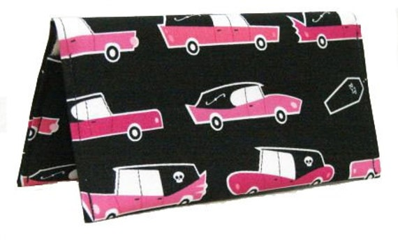 PINK Hearse Checkbook Cover Wallet and Pen Holder