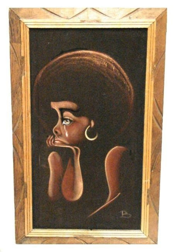 Vintage Black Velvet Painting Signed Reserved For Temple7