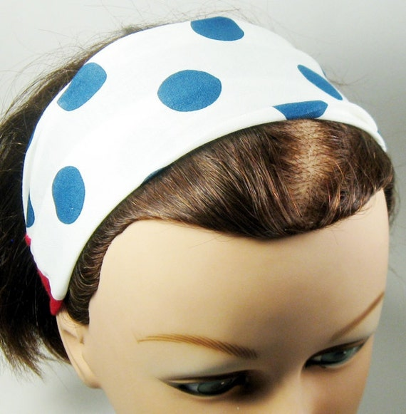 Head Wrap Dread Wrap Hair Scarf- Big Blue Dots - Single