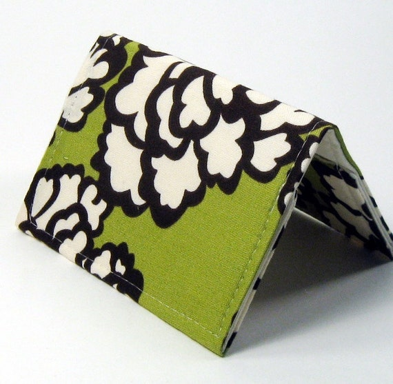 Business Card Case Holder Wallet - Lime Green Brown and Cream Floral