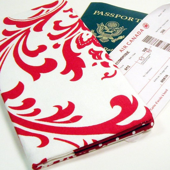 Travel Passport Wallet in Big Red Damask