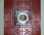 Rusty Tin Architectural Tile W/Sunflower