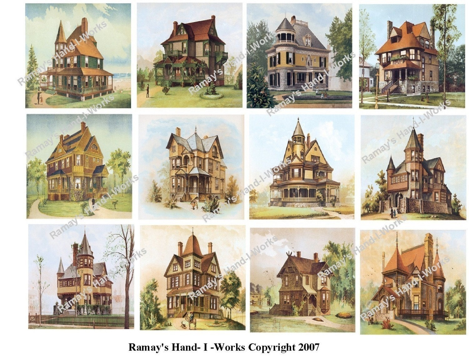 Collage sheet of vintage victorian houses 1a jpeg u print - Types of victorian homes ...