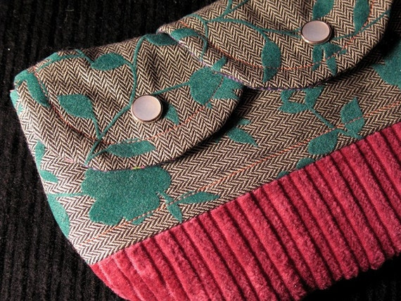 teal floral herringbone double-snap pouch