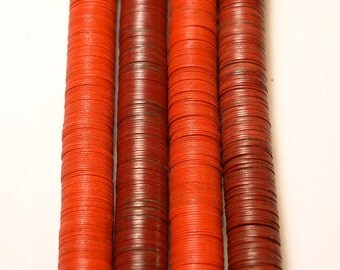 15mm RED Vulcanic Phono Record Disc Heishi African Trade Beads (4 inches)