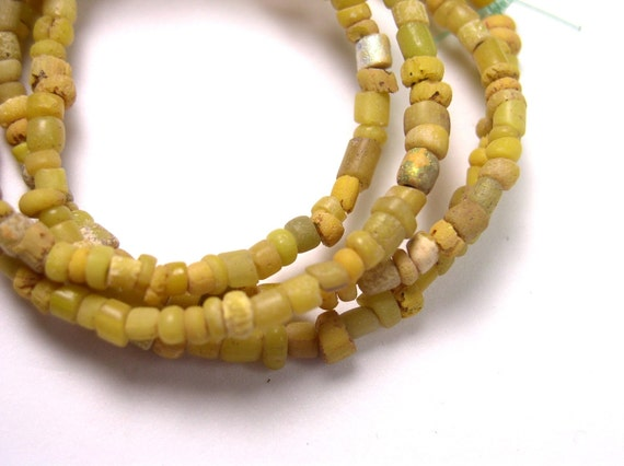 Rare Ancient African Trade Beads Antique STRAND - Yellow