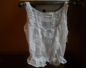 Size Medium Edwardian style camisole in cotton with light blue ribbon