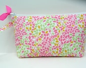 Super Sale--Pink and Green Falling Leaves Wristlet Clutch and Go