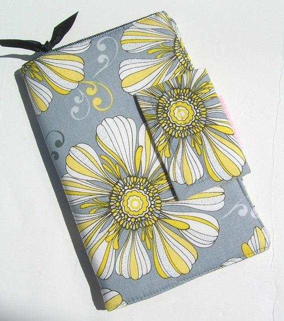 Travel Wallet,Passport Organizer,Daisy Floral in Grey and Sunny Yellow,Passport holder travel wallet,Boarding Pass Travel wallet,On Sale